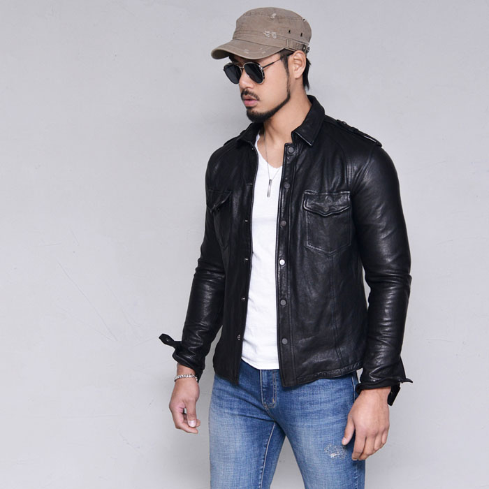 Wired Snug Fit Lambskin Shirt-Leather 169