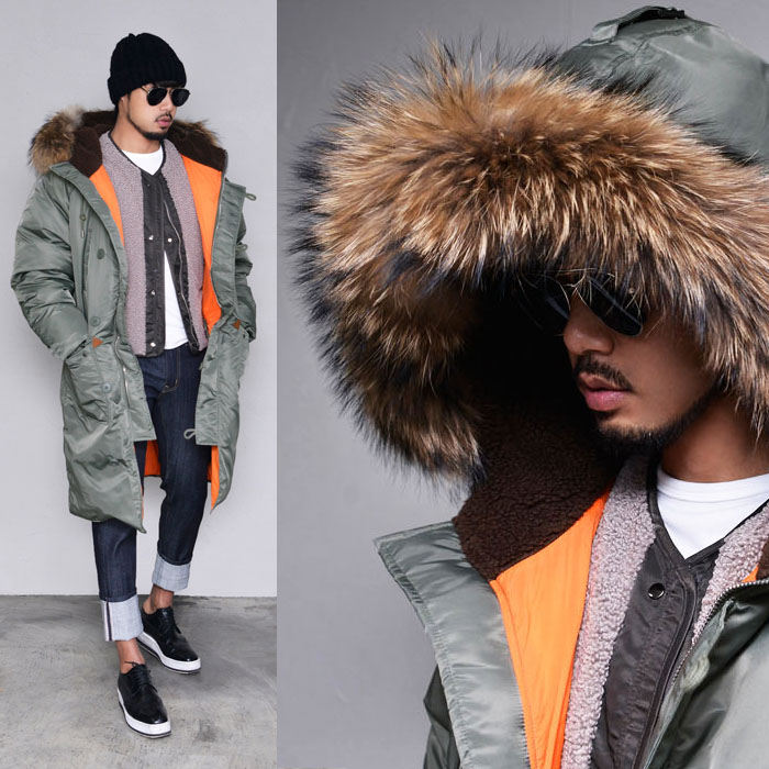 Duckdown Raccoon Long Bomber-Parka 109