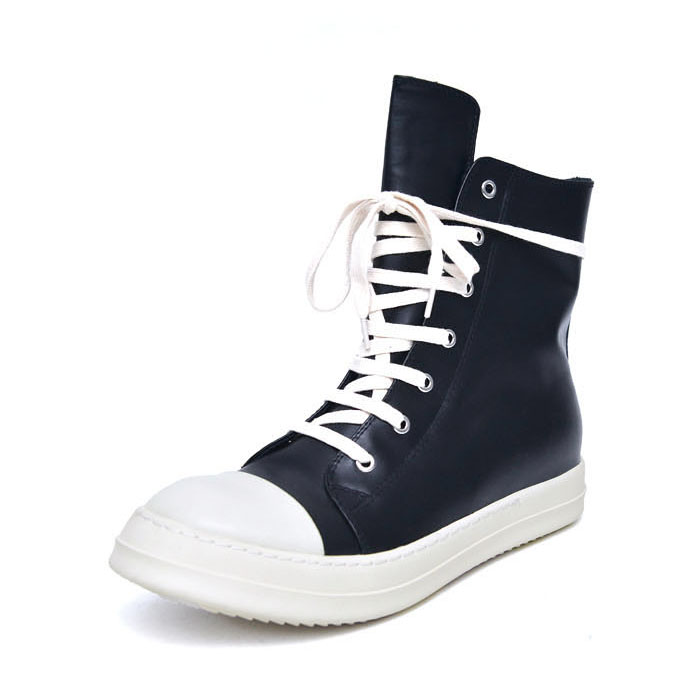 Contrast Toe Leather Hightop-Shoes 784