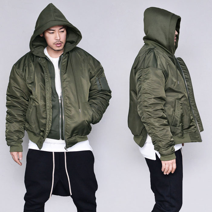 Hooded Shirring Padding Bomber-Parka 111