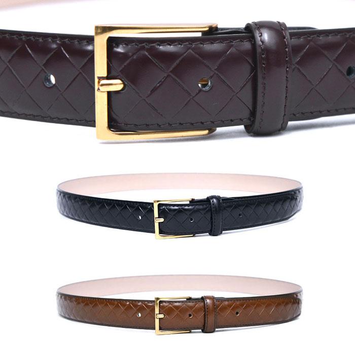 Braid Pattern Leather Dress-Belt 206