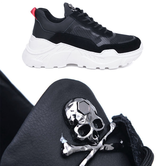 6cm Height Increasing Skull-Shoes 794