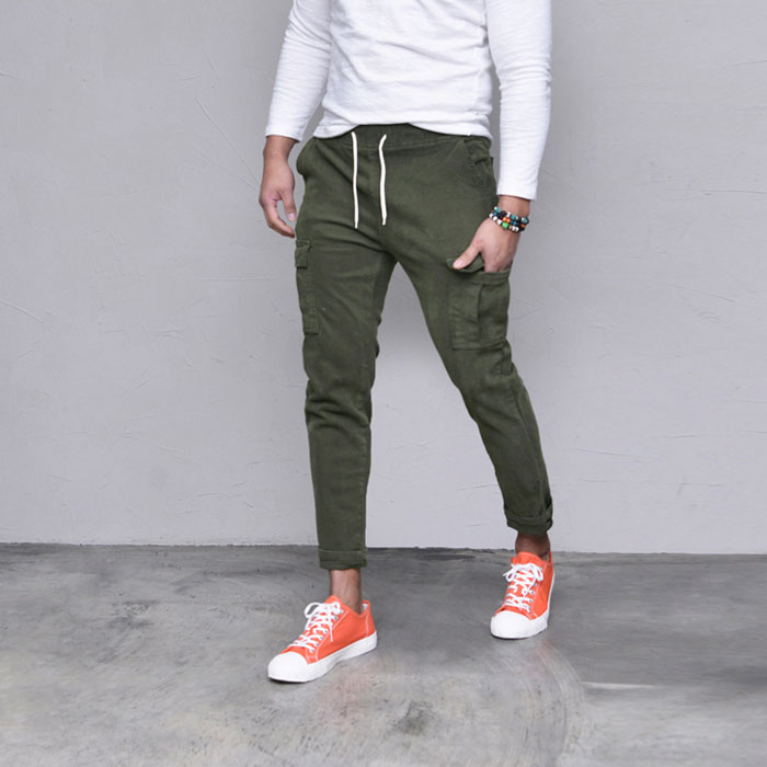 Washed Stretchy Cargo Banding-Pants 519