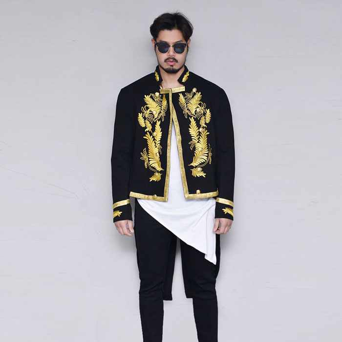 Swallow-tailed Lux Gold Wool Long-Jacket 395
