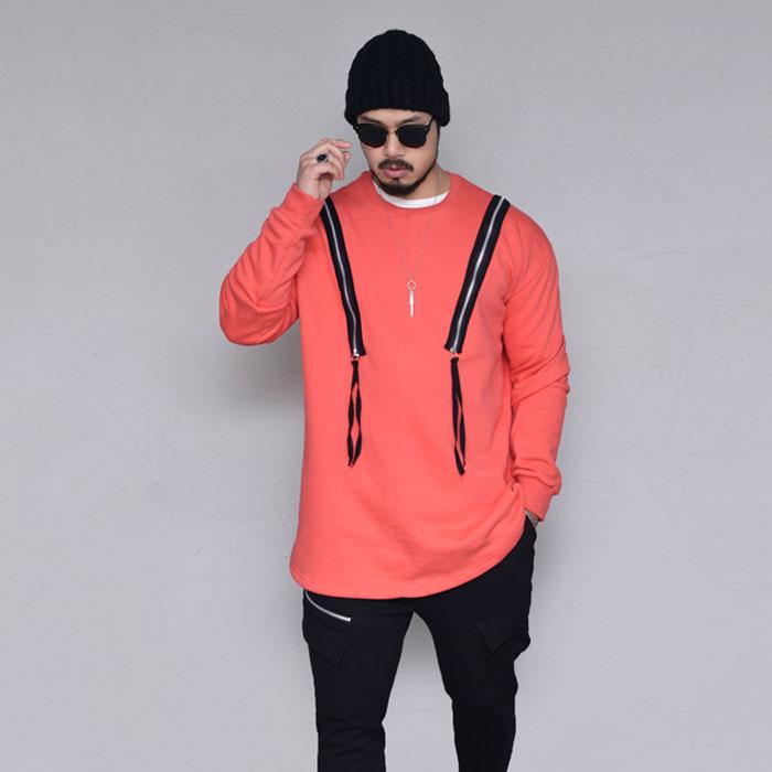 Shoulder Double Zip Sweats-Tee 206