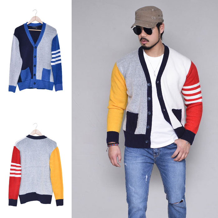 Colorful Contrast Stripe Sweater-Cardigan 301