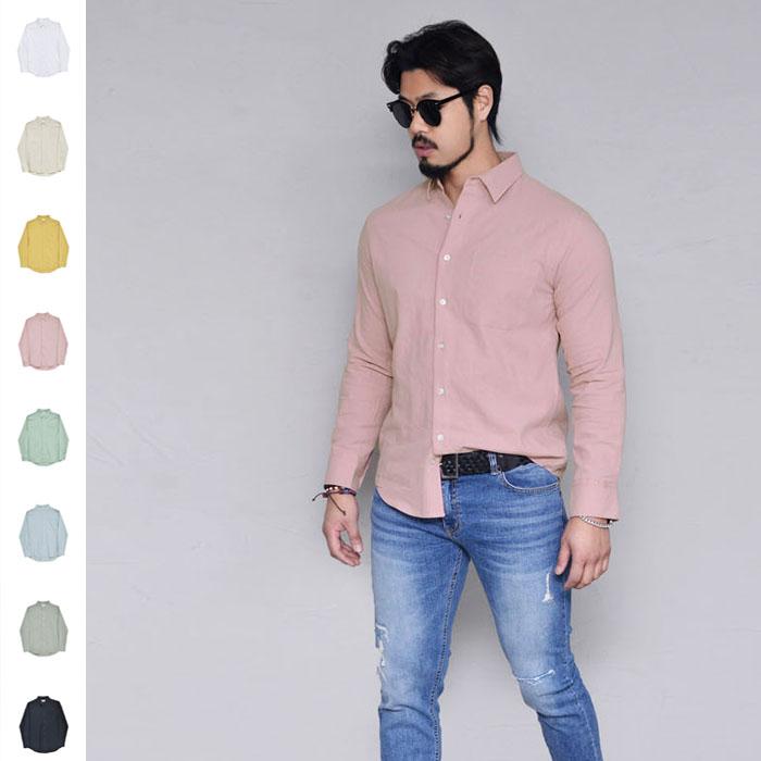Bio Washing Pastel Linen-Shirt 291