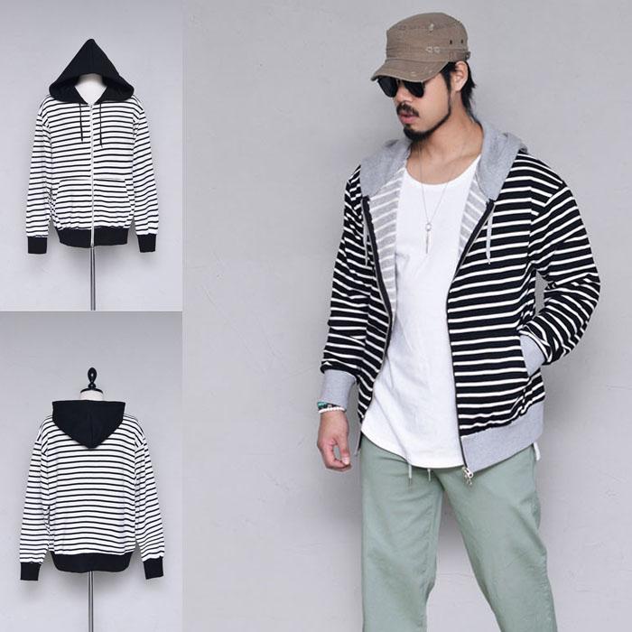 Laid back Stripe Hood Zipup-Hoodie 338