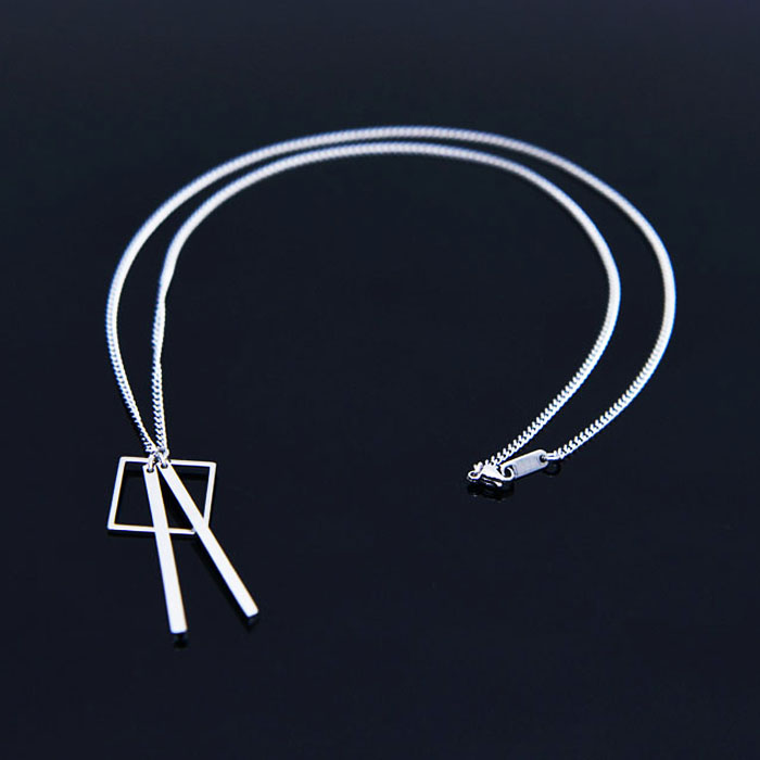 Square Double Stick Surgical Steel-Necklace 387