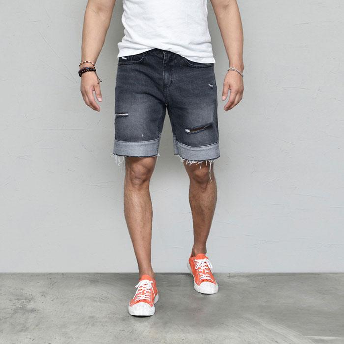Vintage Damage Contrast Denim-Shorts 233