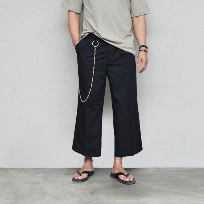 Chain Crop Wide Slacks-Pants 578