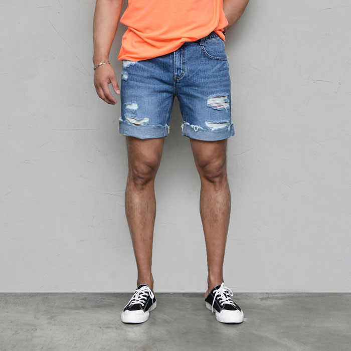 Vintage Turn-up Half-banding Denim-Shorts 240