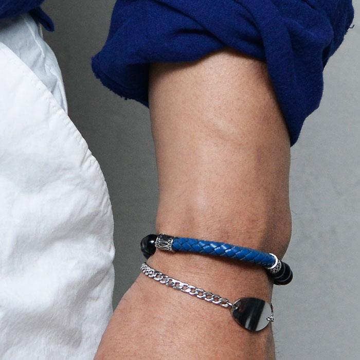Braided Leather Gemstone Mix-Bracelet 489