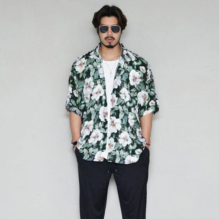 Overfit Viscose Flower Long-Shirt 297