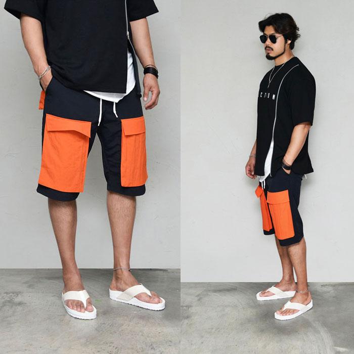 Big Flap Pocket Contrast Baggy-Shorts 253