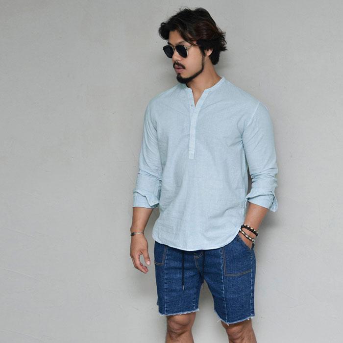 Linen Henley Neck Pullover-Shirt 299