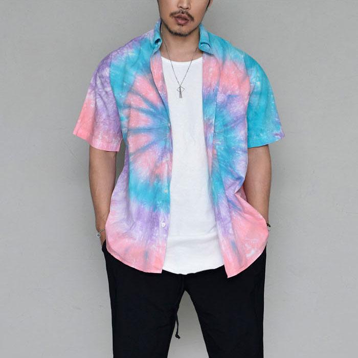 Artistic Colorful Aurora Button Down-Shirt 321