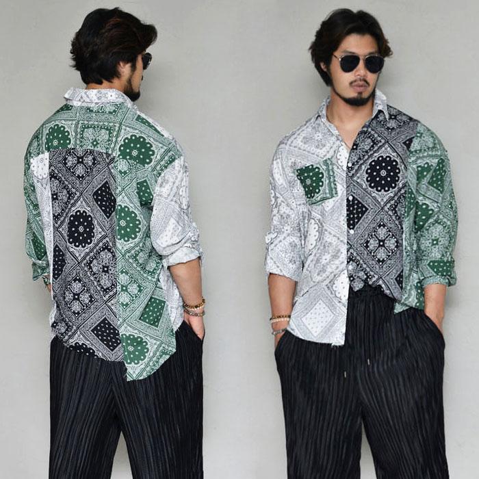 Vintage Paisley Overfit Silket-Shirt 322