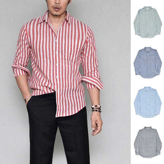 Slim Cut Stripe Linen-Shirt 324