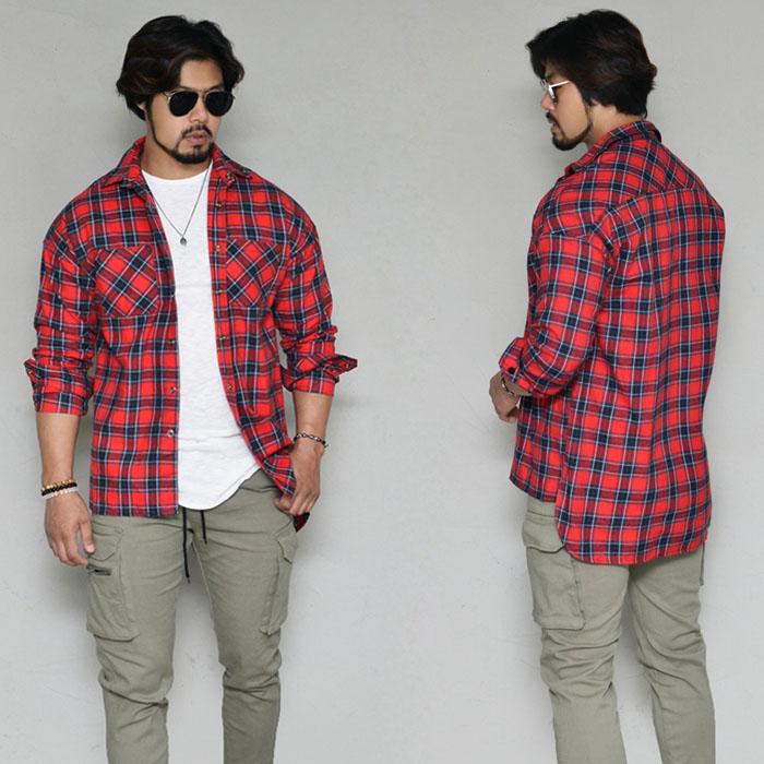Stylish Unbalance Snap Checker-Shirt 325