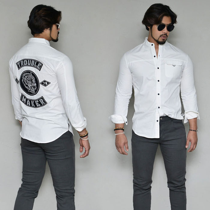 Rock-chic Wolf Embroidery Slim-Shirt 326