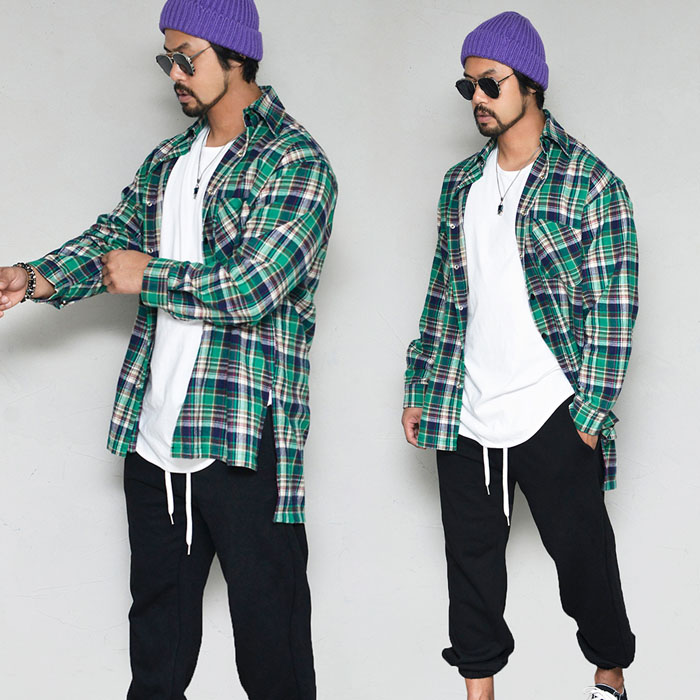 Unbalance Street Flannel Long Checker-Shirt 331