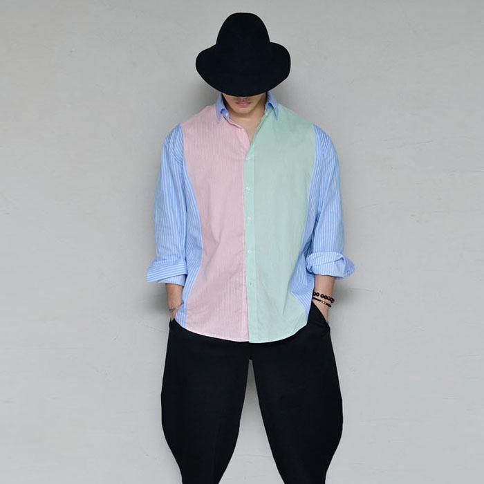 Loose Fit Contrast Stripes-Shirt 332