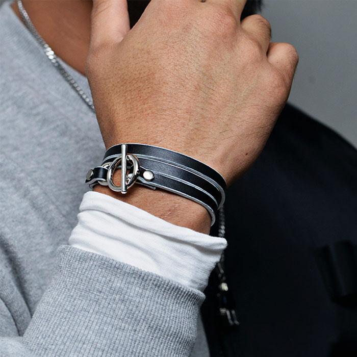 Dual Coil Leather Cuff-Bracelet 506