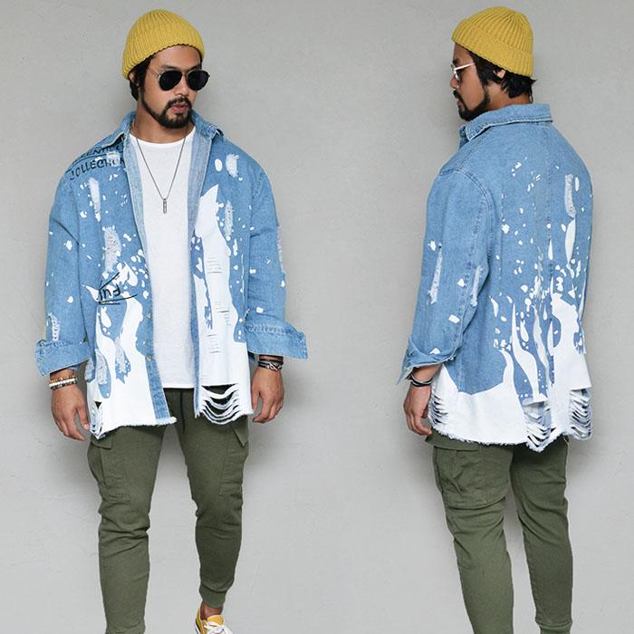 Vintage Damage Paint Long Denim-Shirt 334