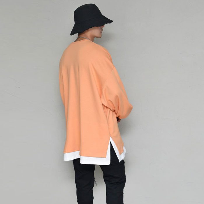Oversized fit Built-in Layered Round-Tee 340