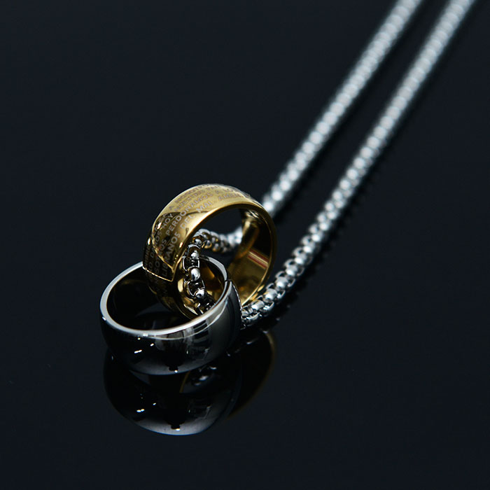 Steel Double Ring-Necklace 412