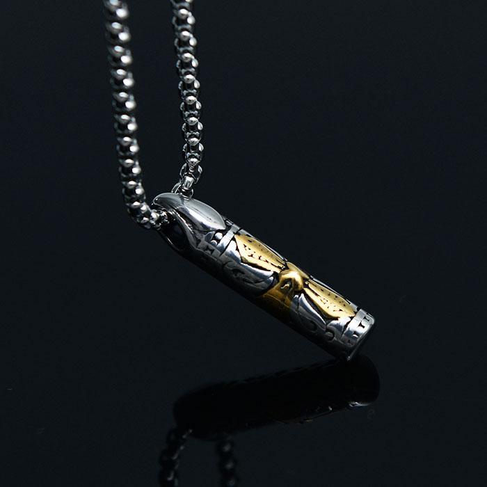 Engraved Cylinder Cross Steel-Necklace 413