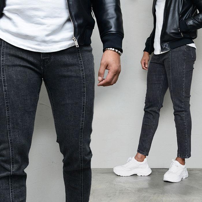 Vertical Seaming Slim Washing Black-Jeans 591