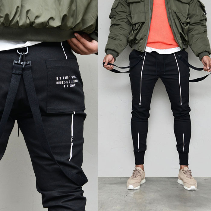 Webbing Strap Slim Semi-baggy-Pants 623