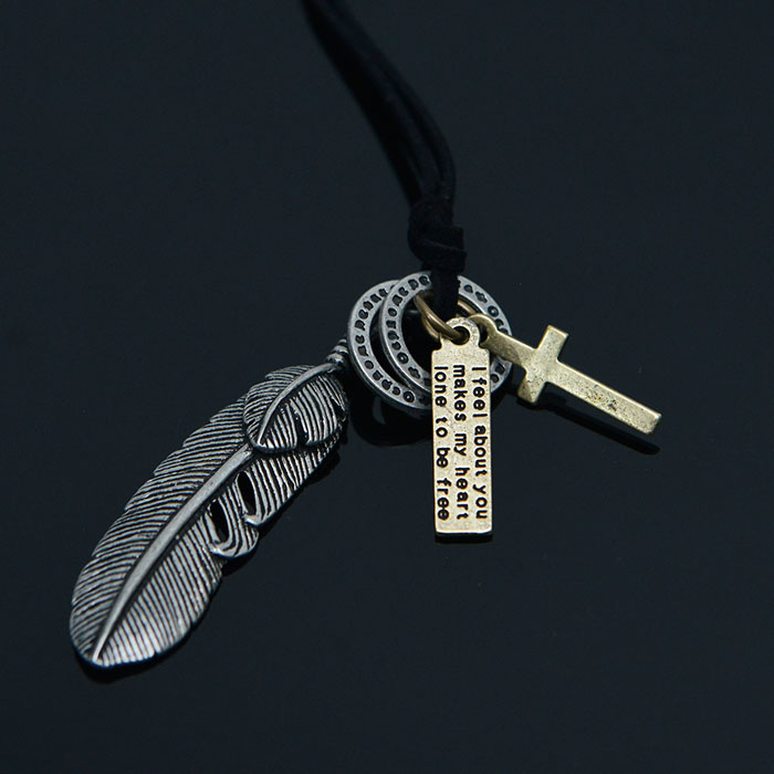 Multi Pendant Antique Leaf-Necklace 415