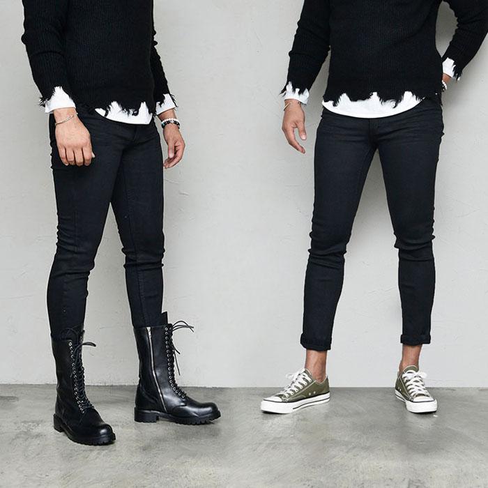 Body-skimming Black Coating Span Slim-Jeans 593