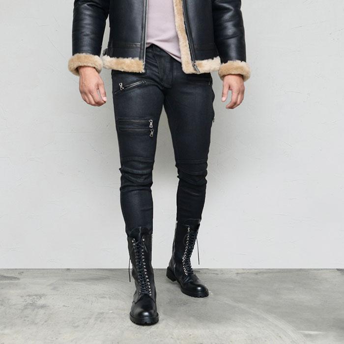 Body-skimming Coating Skinny Biker-Jeans 594