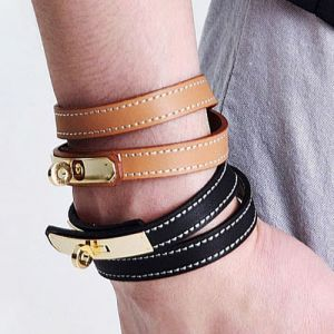 Lux Gold Lock Leather Bracelet-Bracelet 21