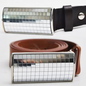 Silver Flashy Razor Cowhide Belt-Belt 42