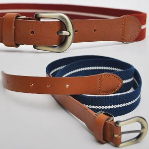 Casual Must-have Leather Mix Web Belt-Belt 45