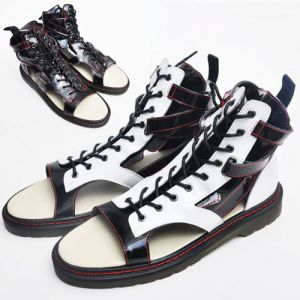 Unique Contrast Cowhide Gladiator-Shoes 103