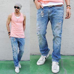 Euro Hipster Fit Damge Vintage-Jeans 66