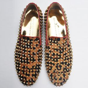 Hand-made Calf Fur Stud Loafer-Shoes 108