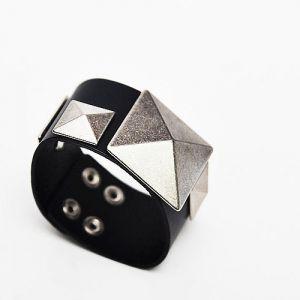 Multi Square Studs Leather Cuff-Bracelet 50