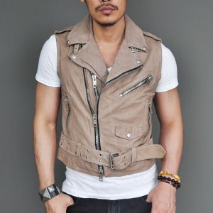 Tough Rider Beige Lambskin Vest-Leather 28