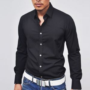 Designer Killer Slim Cut Black Dress-Shirt 48