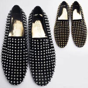 Hand-made Velvet Stud Loafer-Shoes 77