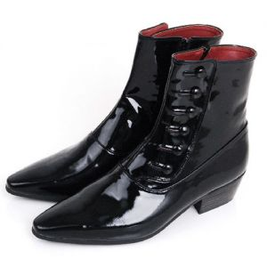 Uber Lux Glossy Black Ankle Boots-Shoes 149