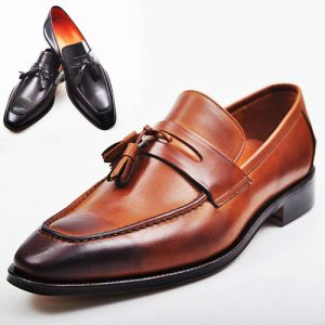 Tasselled Gradation Leather Loafer-Shoes 155