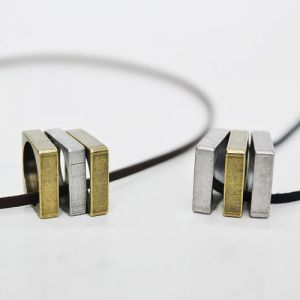 Triple Square Ring Pendant Leather-Necklace 115